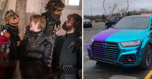 cersei and tyrion on the set of the sesame street and a car with a striking paint job