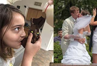 a girl drinking milk from the easter bunny, and two people kissing at a wedding