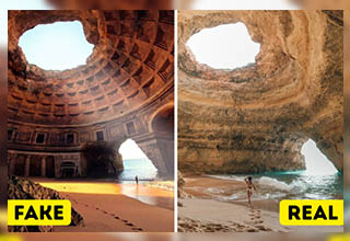 The interior of this cave was replaced with the pantheon in Rome.