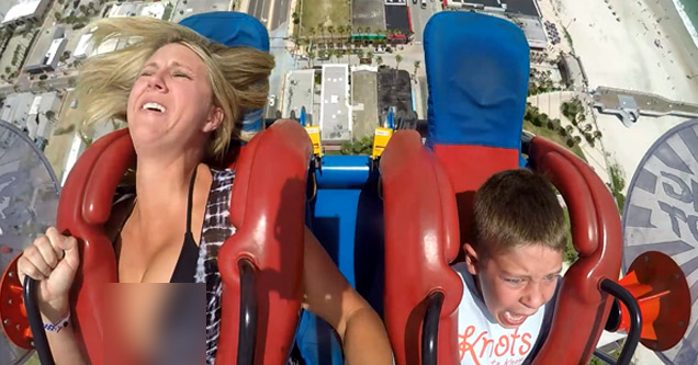 a mother and her son on the slingshot ride in daytona florida