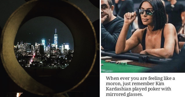 a photo of a city through a cement tube and a photo of kim kardashian wearing mirrored sunglasses while playing poker