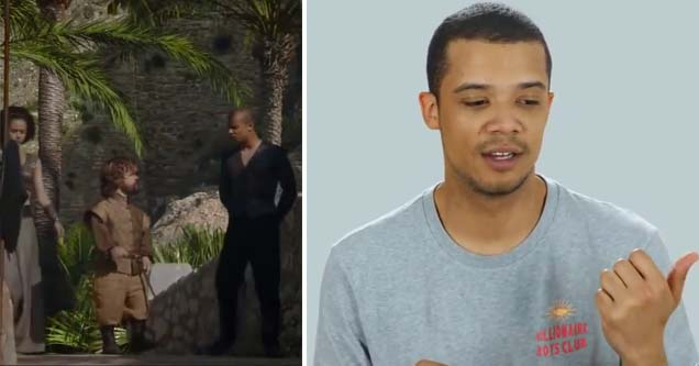 Jacob Anderson in normal clothes and portraying grey worm