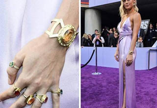 Alison Brie With infinity gauntlet rings, Alison Brie at Endgame avengers premier.