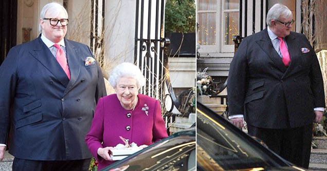 absolute unit man wearing suit with Queen Elizabeth