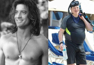 a photo of young muscular brendan fraser and him now in snorkeling gear and a huge belly