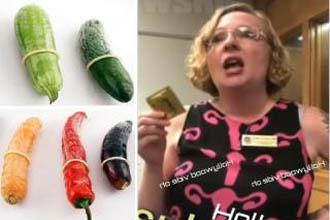 A woman describing penis size.