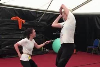 Arya fighting against Brianne.