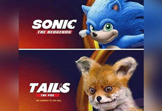 Sonic the Hedgehog movie meme with Tails as a creepy fox.