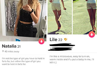 People who just let it all out on <a href=https://www.ebaumsworld.com/pictures/straight-up-honest-tinder-profiles-you-gotta-admit-are-ballsy/85185611/> Tinder</a> without holding anything back.