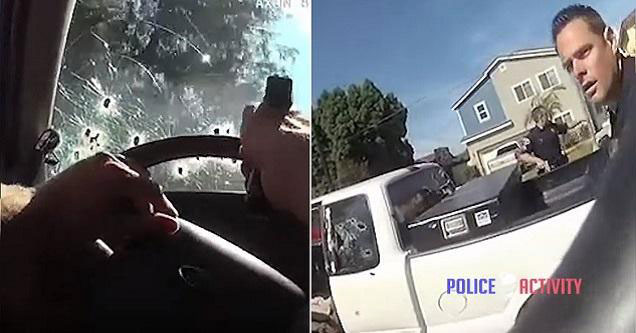 police officers fire rounds through their windshield and get fired