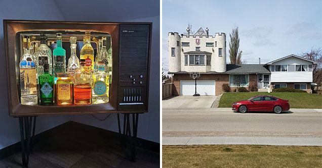 old tv turned into a bar and a castle on a house