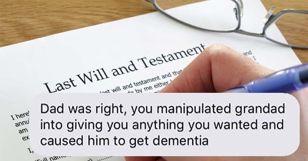 a text message on top of a last will and testament