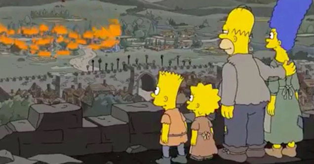 a still from the simpsons tv show with bart lisa homer and marge watching a medieval city burn on fire