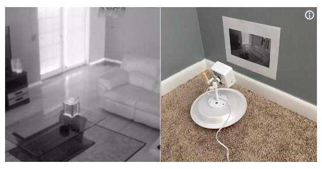 a security camera set up infront of a photo of the room to fool parents
