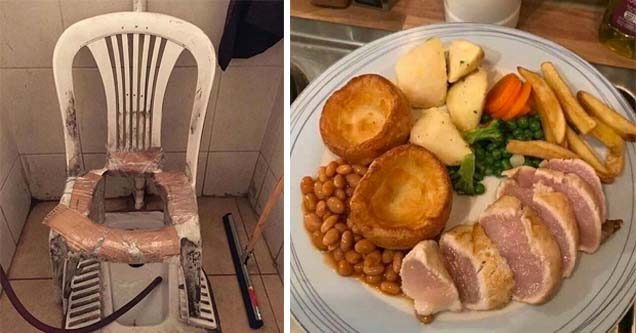 a chair with a hole in it over a toilet and raw meat on a dinner plate