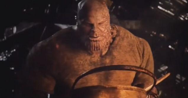 Thanos making breakfast in a scene from Avengers: Endgame.