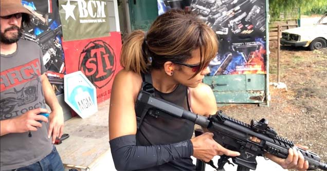 halle berry and keanu reeves at the gun range