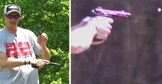 a guy holding a gun in a green area and the same gun filmed with a highspeed camera