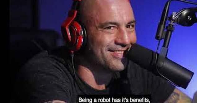 joe rogan smirking with robot text underneath his face