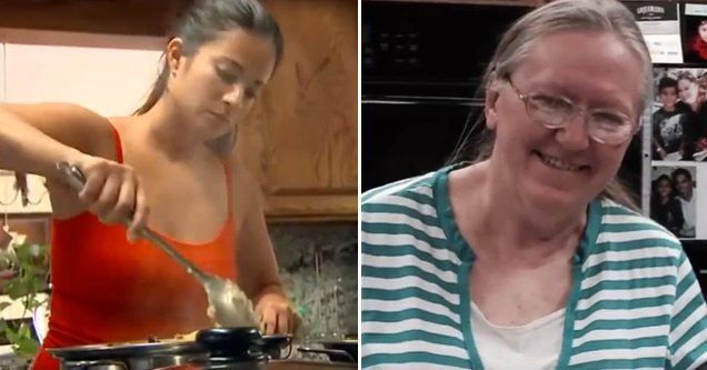 a photo of a woman cooking dinner next to an image of an older woman smiling