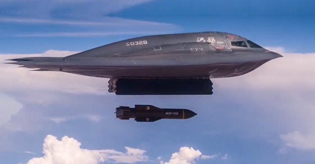a stealth bomber dropping a bomb