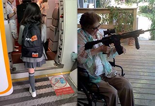 a woman wearing a pornhub backpack and an old lady holding a gun