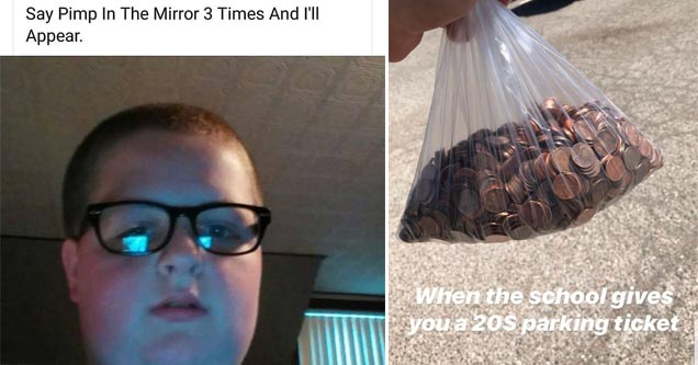 a kid calling himself a pimp and a bag full of pennies
