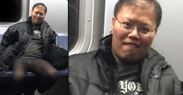 asian dude with crazy eyes creeping people out on the train