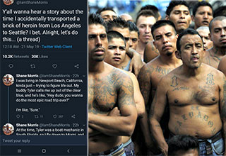 a twitter thread about hustling ms-13 gang memebers