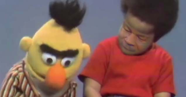 mike tyson deepfaked onto a child next to bert from sesame street