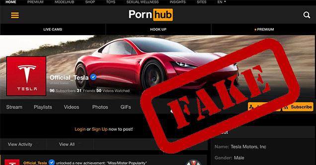 fake tesla pornhub account page