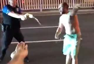 a drunk guy in the streets of ocean city getting tased