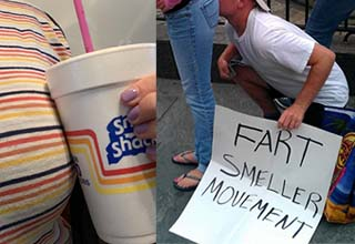 a woman holding a cup on top of the stripes on her shirt, and a sign that says fart smeller movement