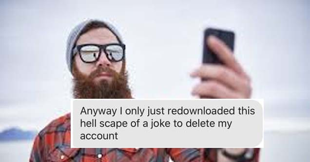 a man holding a phone with a beard and a text over him