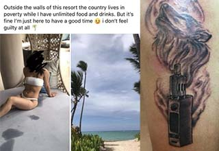 a vape tattoo, and a woman at the beach being mean