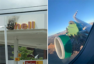 shell station on fire and a broken plane engine
