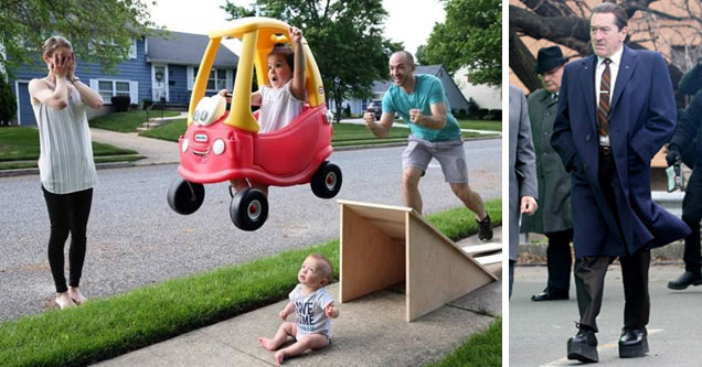a family photo of a kid jumping his baby brother in a toy car off a ramp and mom has her hands over here eyes in fear and a photo of Robert di nero  wearing lifted shoes