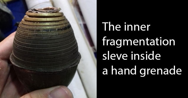 a photo of the inside of a hand grenade with white text that says that