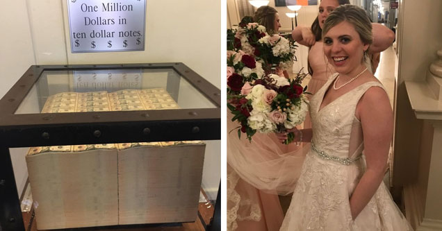 one million dollars in 10 dollar bills inside a glass case