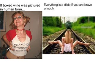 memes - a woman who looks like boxed wine and a woman on the train tracks with a train coming