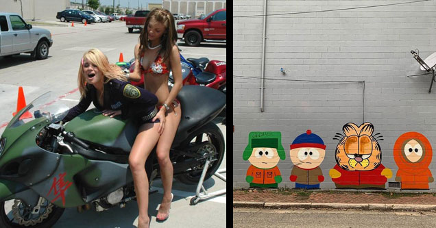 two hot chicks in bikinis on a motorcycle and graffiti of southpark with garfield as cartman