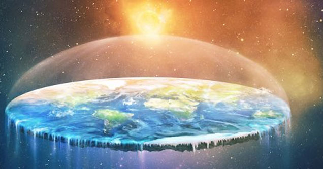 an artists rendition of the flat earth in a dome