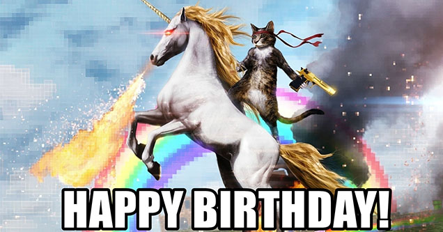 funny birthday memes | Epic happy birthday meme with a cat riding a unicorn holding a gun.