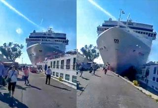 a large cruise ship smashing into the Venice peer
