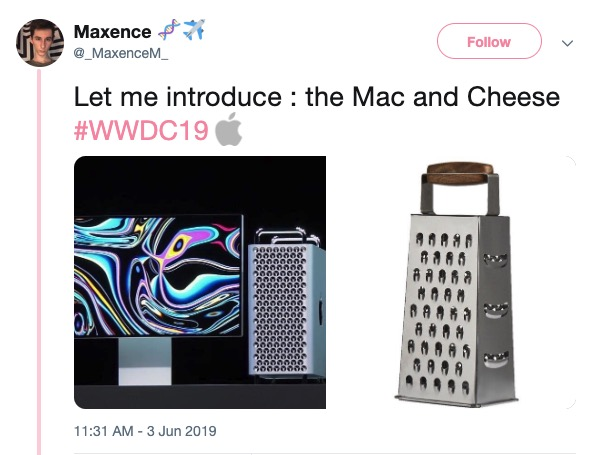 "Earlier today Apple unveiled it's new Mac Pro and one can't help but immediately notice that it looks like a cheese grater. This next generation kitchen utensil's entry-level model will be 8-core, 32GB RAM, with 256GB SSD and will start at $5999. <br> <br> Apple is a company that is no stranger to <a href=https://knowyourmeme.com/>memes</a>, check out <a href=""https://www.ebaumsworld.com/pictures/apple-pro-stand-memes-that-will-save-you-999/85979904/"" target=""_blank"">Apple Pro Stand memes</a> that are absolutely ridiculous."