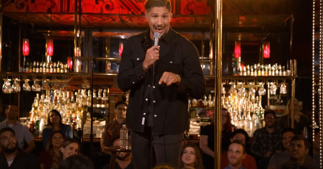 comedian and mma fighter brendan schaub talking in front of a crowd