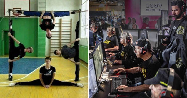 an impressive gymnastics formation and old people playing esports