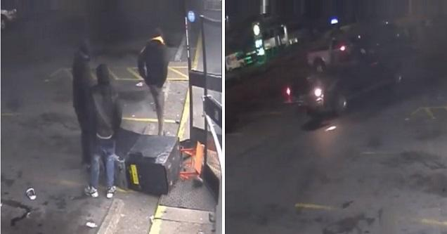 men stealing an atm and the driver leaving them behind