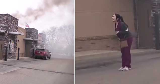 a lady screaming as burger king goes up in flames