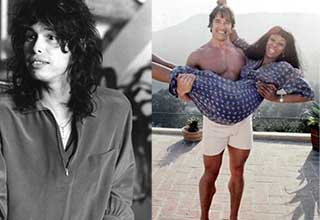 steven tyler as a youngster and arnold schwarzeneggar holding up donna sommers